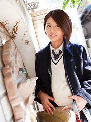 Tsubasa Akimoto Asian in sexy uniform enjoys her way to school