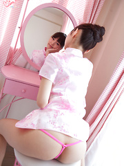 Skinny Japanese teen babe Minami can't wait to strip nude and show off her elegant body.