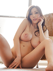 Julia Asian with sexy legs shows big boobs in all their splendour