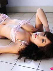 Natsuki Ikeda Asian with big hooters looks so sexy on lingerie